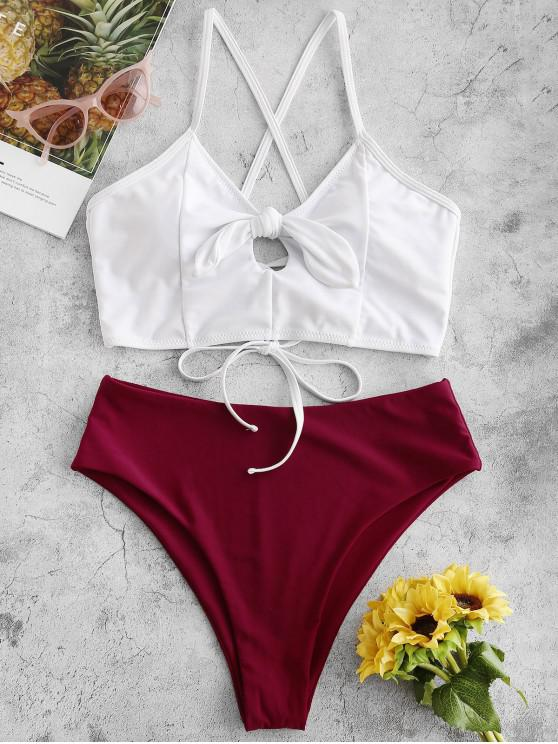 fancy ZAFUL Color Block Lace Up Tied High Leg Tankini Swimsuit - RED WINE L