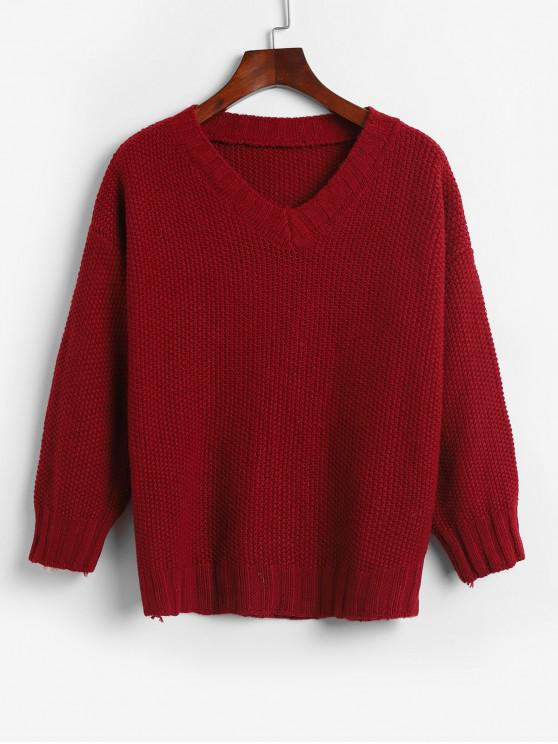 womens V Neck Solid Loose Fit Sweater - RED ONE SIZE