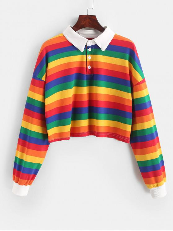 fancy Contrast Striped Rainbow Half Button Crop Sweatshirt - MULTI-A XL