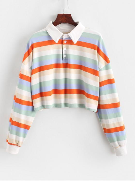 unique Contrast Striped Rainbow Half Button Crop Sweatshirt - MULTI-B S