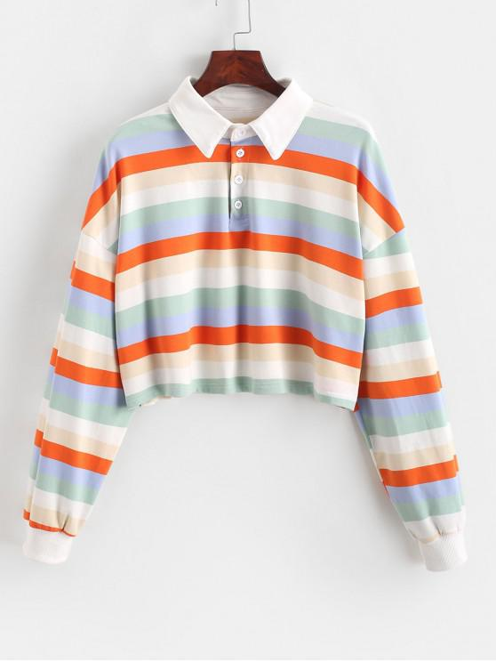 Sweat-shirt Court Demi-boutonnage Arc-en-ciel Rayure Contrastée - Multi-B M