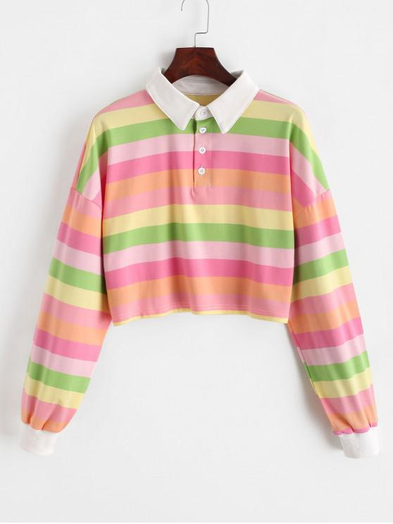 womens Contrast Striped Rainbow Half Button Crop Sweatshirt - MULTI-C S