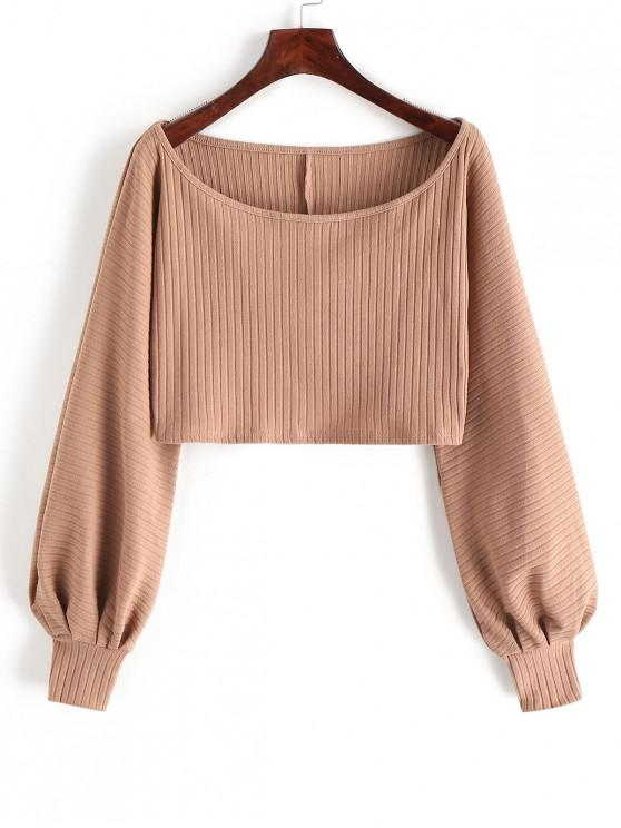 best Lantern Sleeve Ribbed Cropped Top - LIGHT KHAKI S