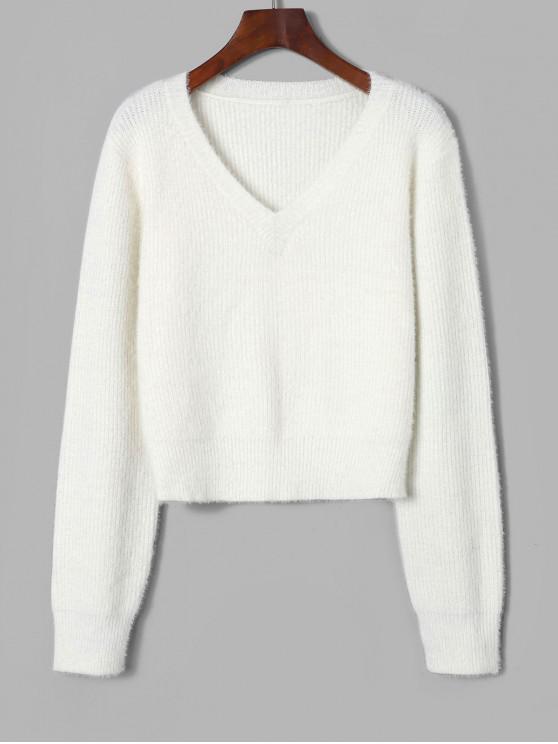 womens ZAFUL Fuzzy V Neck Fluffy Knit Sweater - WHITE S