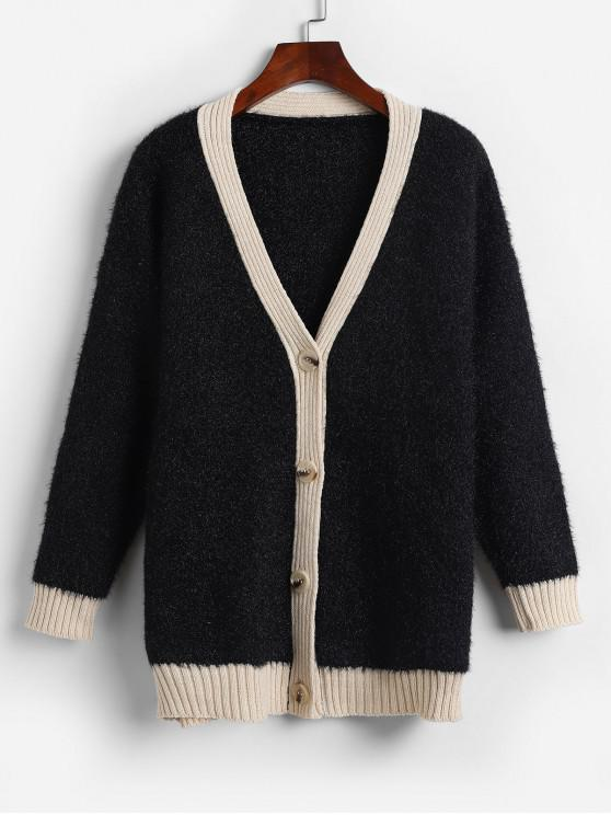 best Fuzzy Button Up Drop Shoulder Cardigan - BLACK ONE SIZE
