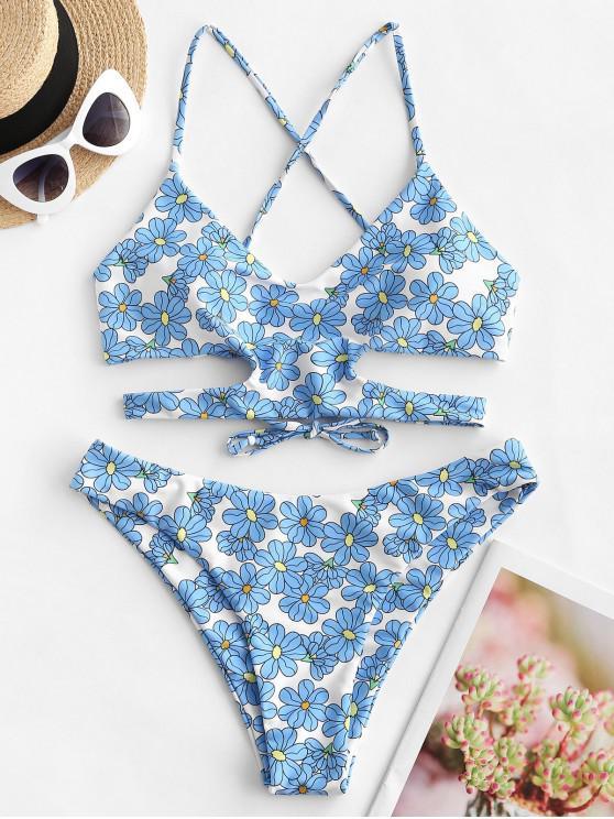 sale ZAFUL Flower Lace Up Cut Out Bikini Swimsuit - MULTI-A S