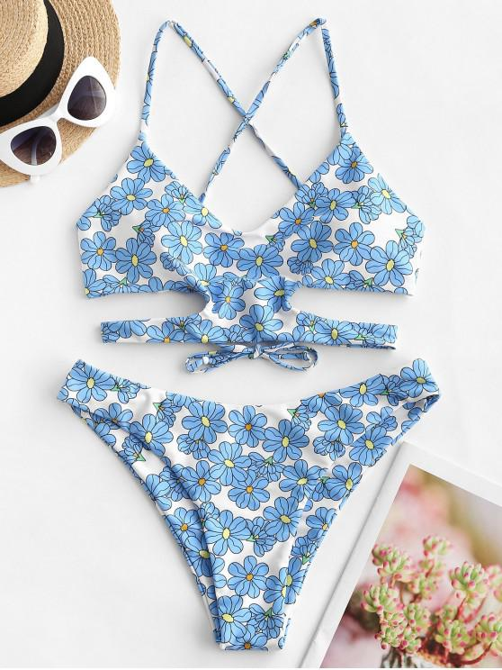 buy ZAFUL Flower Lace Up Cut Out Bikini Swimsuit - MULTI-A L