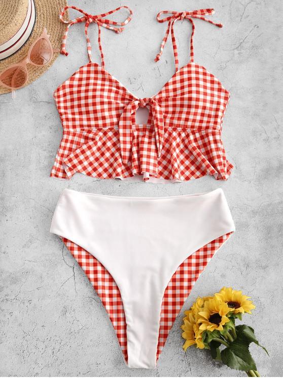 women ZAFUL Reversible Plaid High Leg Tied Peplum Tankini Swimwear - BEAN RED M