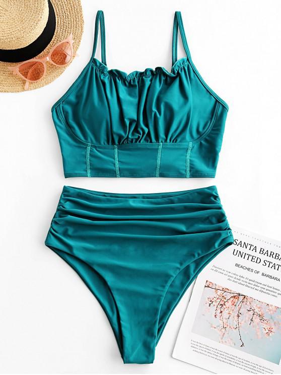 unique ZAFUL Lace Up Lettuce Trim Tummy Control Tankini Swimsuit - LIGHT SEA GREEN S