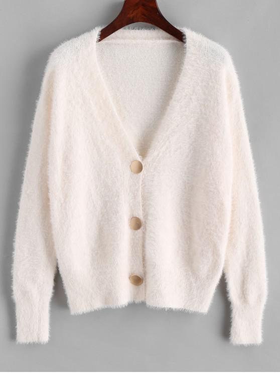 sale Button Up Solid Fluffy Cardigan - WHITE ONE SIZE