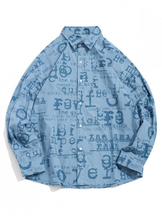 ladies Letter Graphic Allover Print Pocket Long Sleeve Shirt - BLUE KOI L