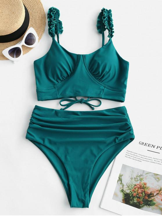 women's ZAFUL Lettuce Trim Lace Up Tummy Control Tankini Swimsuit - PEACOCK BLUE L