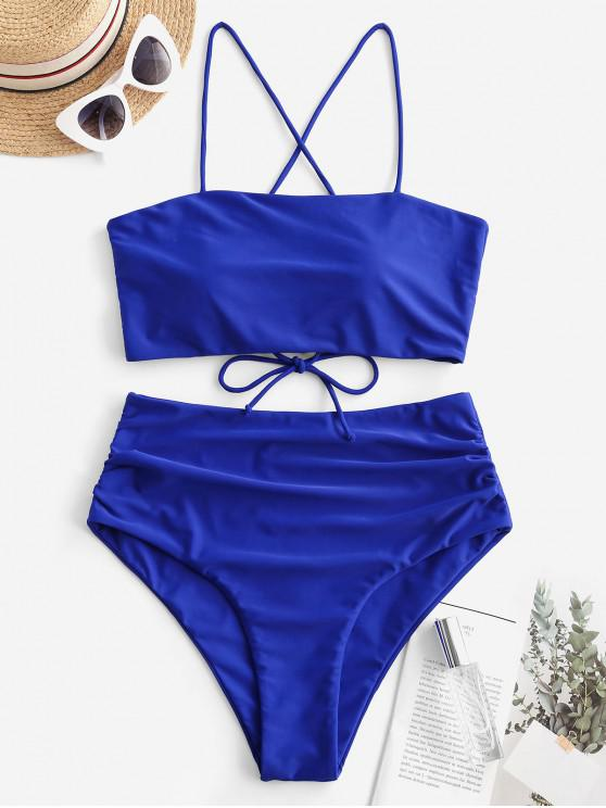 lady ZAFUL Lace Up Padded Tummy Control Tankini Swimsuit - COBALT BLUE S