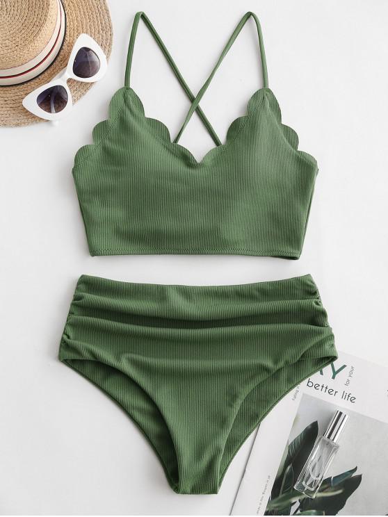 ZAFUL Ribbed Scalloped Lace Up barriga de Controle Tankini Swimsuit - Verde Médio da Floresta L