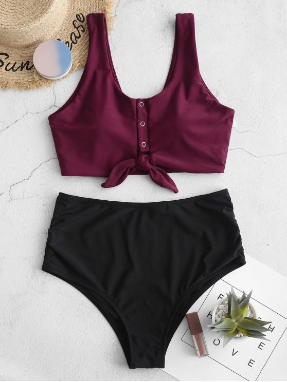 hot ZAFUL Knot Snap Button Ruched Tankini Swimsuit - MAROON L