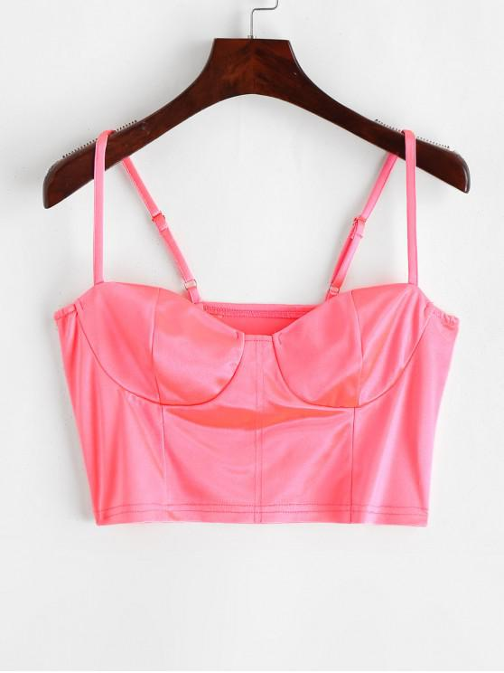 affordable Cropped Neon Bustier Cami Top - NEON PINK L