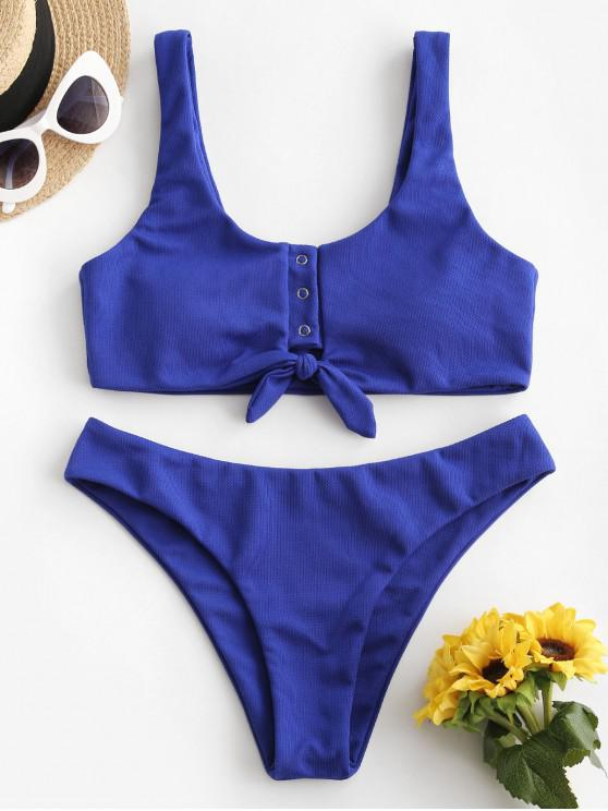 shop ZAFUL Textured Snap Button Tied Bikini Swimsuit - COBALT BLUE M