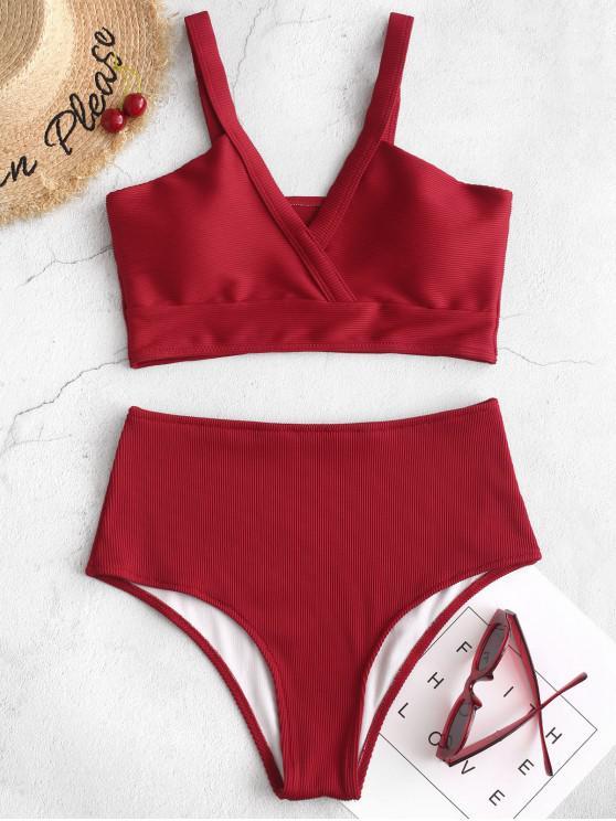 ZAFUL textura acanalada de Tankini del traje de baño - Rojo XL
