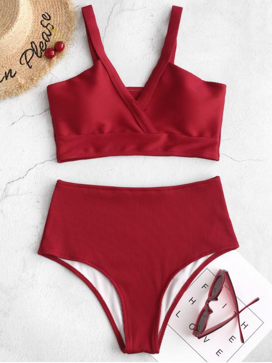 shops ZAFUL Textured Ribbed Tankini Swimsuit - RED 2XL