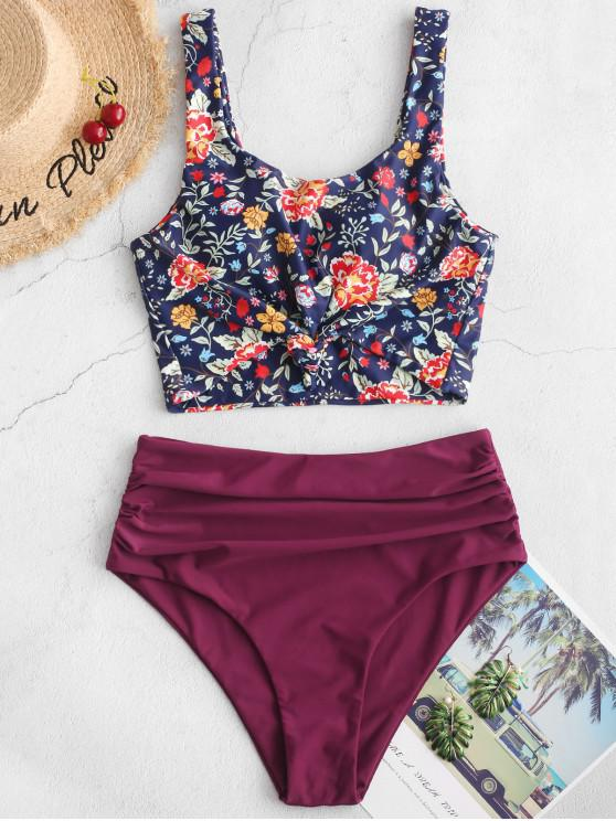 hot ZAFUL Ruched Knot Plant Print Tankini Swimsuit - PLUM PIE M