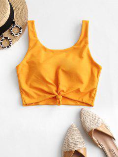 ZAFUL Knotted Padded Plain Swim Top - Bee Yellow M