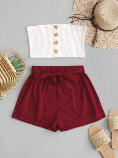 ZAFUL Two Piece Buttoned Ribbed Bandeau Top Set - Red Wine S
