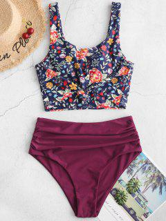 ZAFUL Ruched Knot Plant Print Tankini Swimsuit - Plum Pie 2xl
