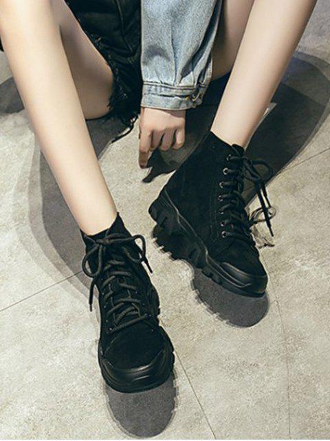 buy Plain Faux Suede Cargo Ankle Boots - BLACK EU 35 Mobile