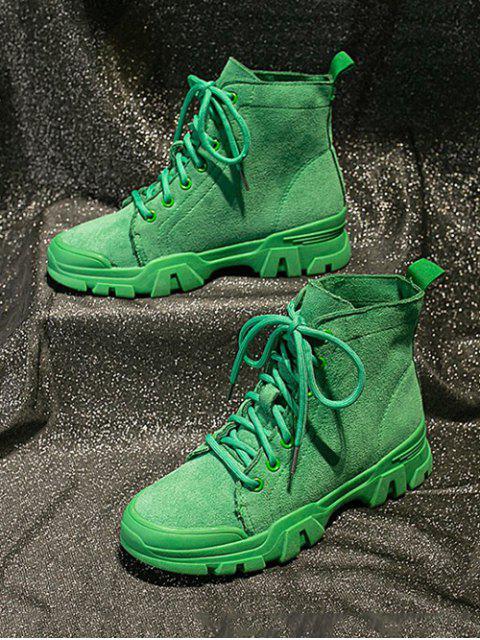 women's Plain Faux Suede Cargo Ankle Boots - DEEP GREEN EU 40 Mobile