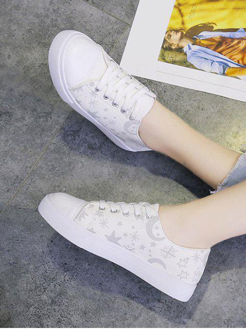 sale Star Moon Print Canvas Flat Shoes - WHITE EU 38 Mobile