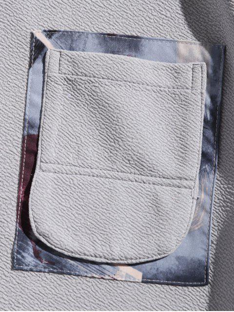 繪畫打印拼布拼接胸口袋連帽衫 - 藍灰色 S Mobile