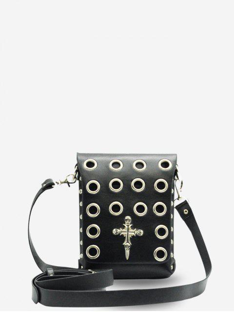 斜挎包朋克風格萬聖節袋 - 黑色  Mobile