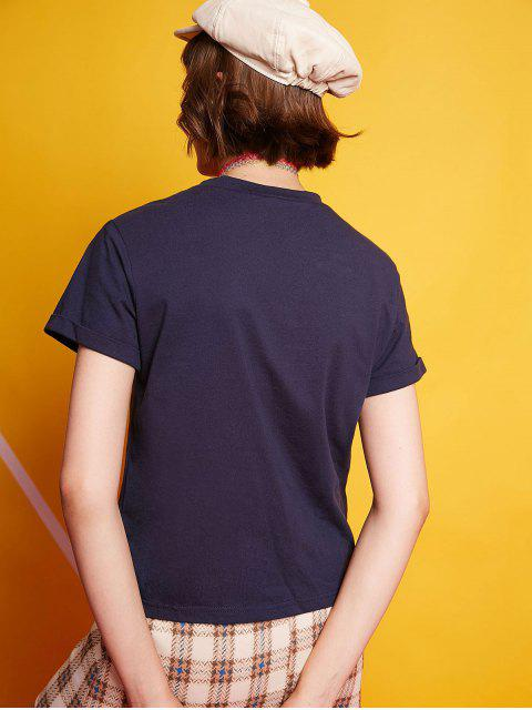 women ZAFUL Cuffed Sleeves Number Graphic Casual Tee - MIDNIGHT BLUE L Mobile