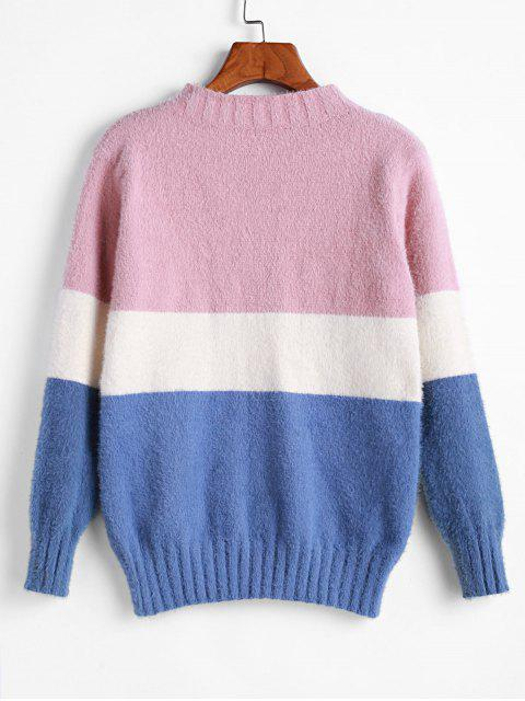 new ZAFUL Color Block Contrast Fuzzy Knitted Sweater - MULTI M Mobile