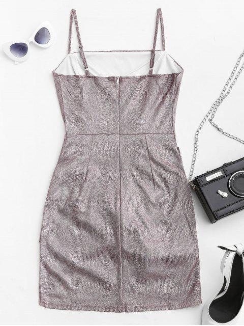 unique Metallic Glittery Draped Cami Dress - WISTERIA PURPLE S Mobile