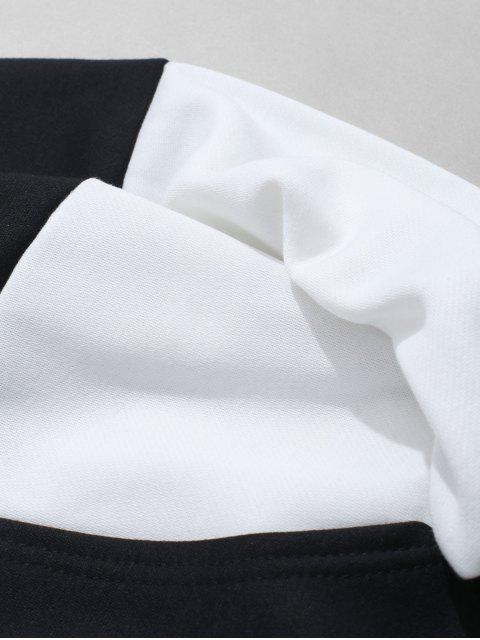 Sweat à Capuche Lettre Graphique Imprimée en Blocs de Couleurs Jointif - Blanc L Mobile