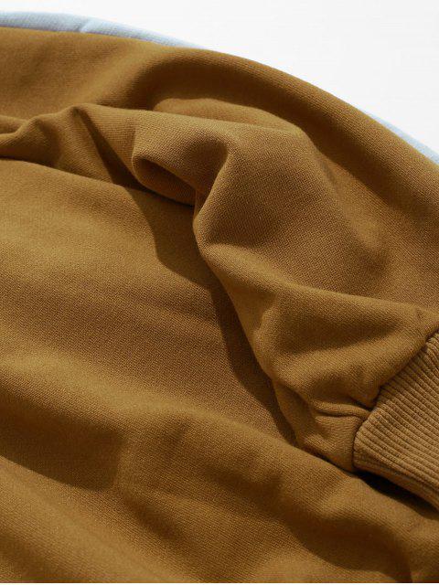 訂購刺繡色塊拼接套頭衫運動衫 - 老虎橙 L Mobile