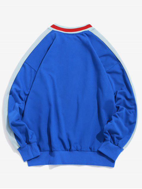 Sweat-shirt en Blocs de Couleurs Jointif Brodé - Bleu Océan M Mobile