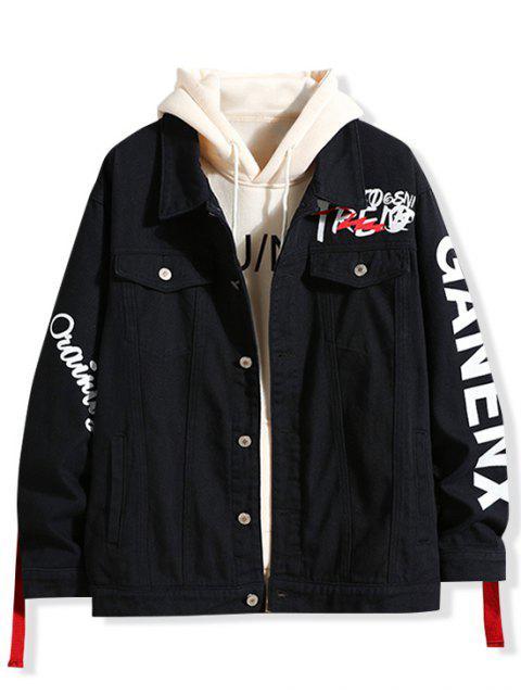 字母印花牛仔夾克 - 黑色 M Mobile