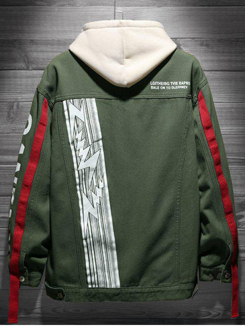 buy Letter Print Denim Jacket - ARMY GREEN M Mobile