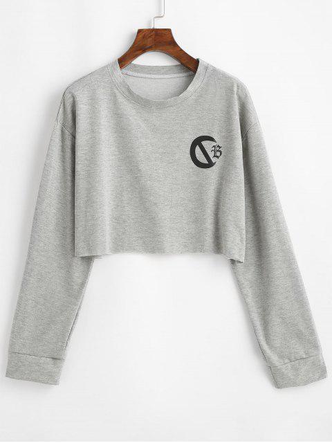 圖形裁剪原料下擺套衫運動衫 - 灰色雲彩 One Size Mobile