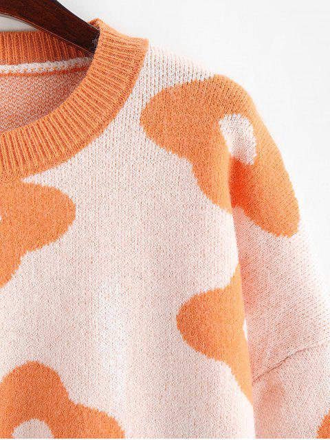fashion Flower Graphic Crew Neck Loose Sweater - BASKET BALL ORANGE ONE SIZE Mobile
