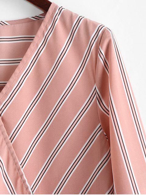 fancy ZAFUL Striped Tie Cuffs Surplice Blouse - PINK ROSE M Mobile