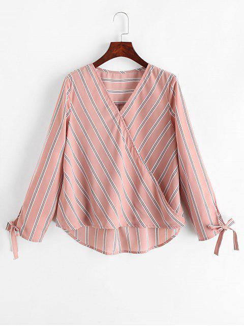 shops ZAFUL Striped Tie Cuffs Surplice Blouse - PINK ROSE L Mobile