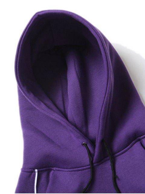 字母印花插肩袖羊毛休閒連帽衫 - 紫色紫水晶 M Mobile
