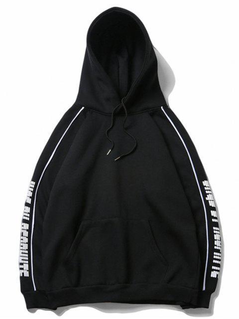 字母印花插肩袖羊毛休閒連帽衫 - 黑色 M Mobile