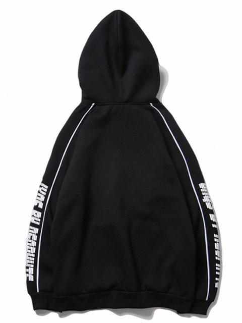 字母印花插肩袖羊毛休閒連帽衫 - 黑色 2XL Mobile