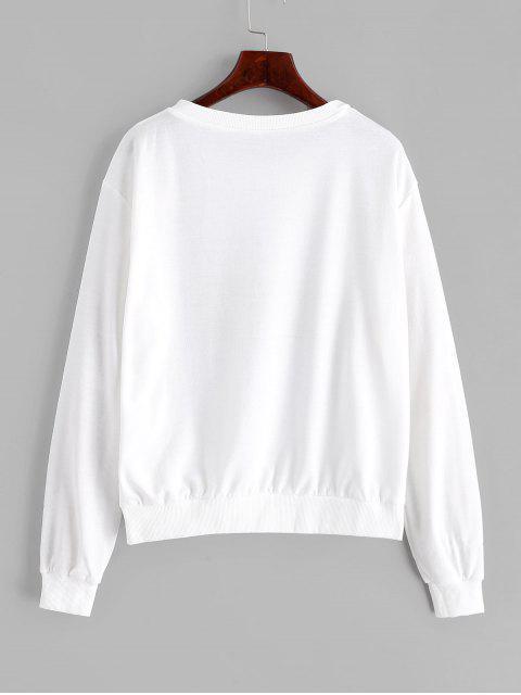 有趣的貓圖形套衫下降肩運動衫 - 牛奶白色 S Mobile