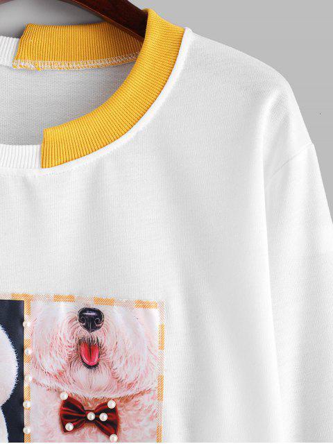 有趣的狗人造珍珠寬鬆運動衫 - 牛奶白色 M Mobile