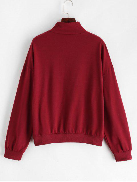 Quarter Zip亮片吊帶運動衫 - 栗子紅 L Mobile